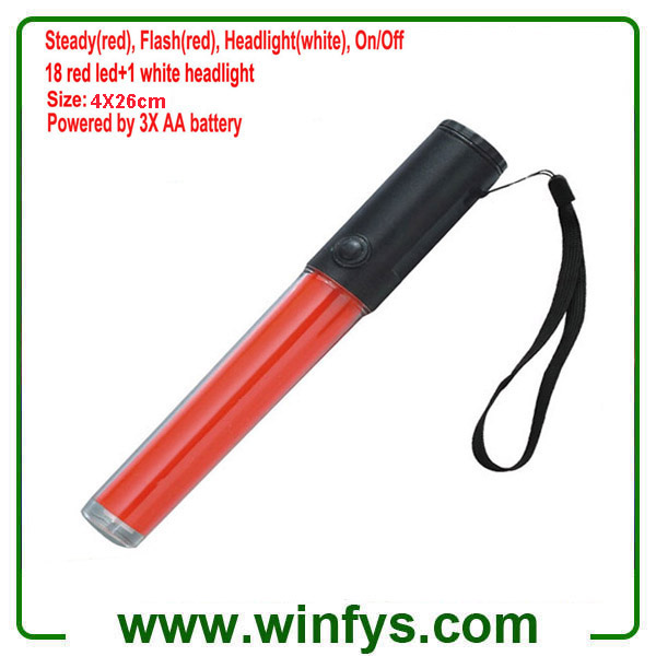 3 Modes 3XAA Battery 26cm PC Tube Led Red Traffic Wands