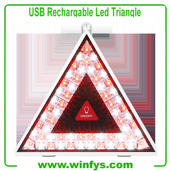 USB Rechargeable Flashing Led Warning Triangles
