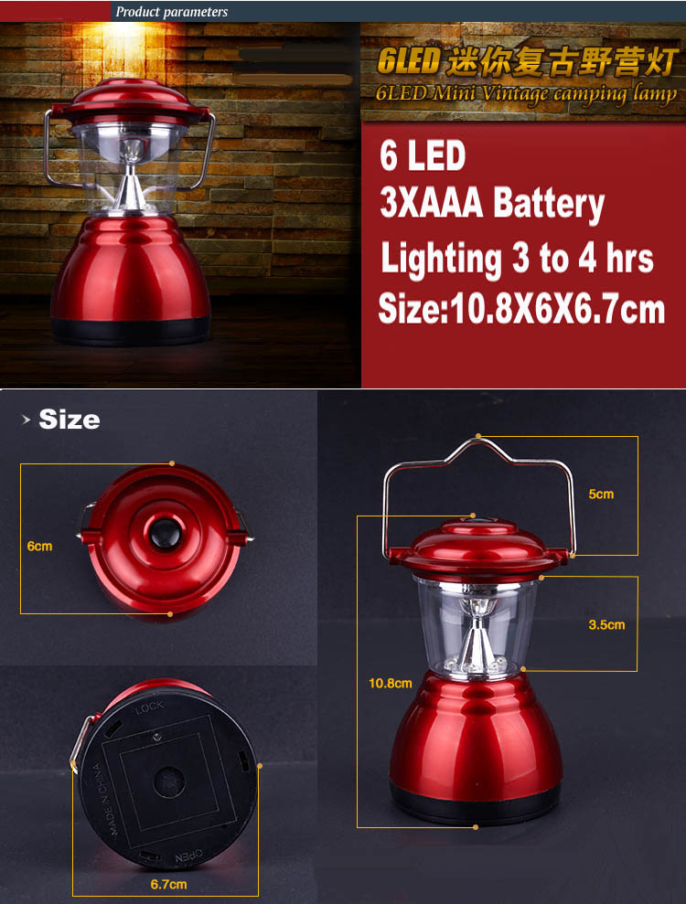 6 LED MINI VINTAGE Camping Lights Lanterns Lamps