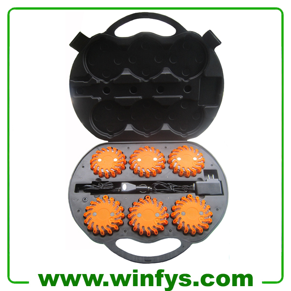 6-Pack Orange Amber Rechargeable Led Emergency Flares Led Road Flares Kits