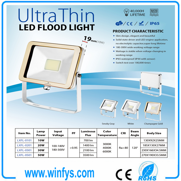 10W 20W 50W IP65 Ultra Slim Led Flood Light